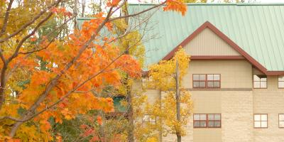 A view of the exterior of Ohio Hall during the fall.
