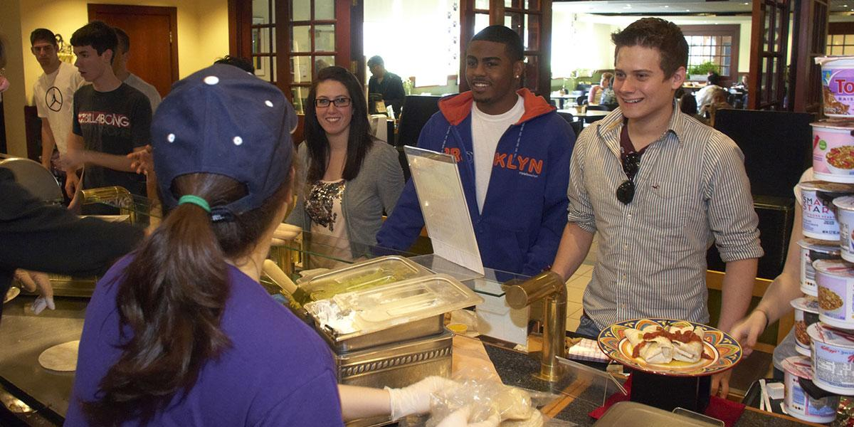 Student get food from the campus dining