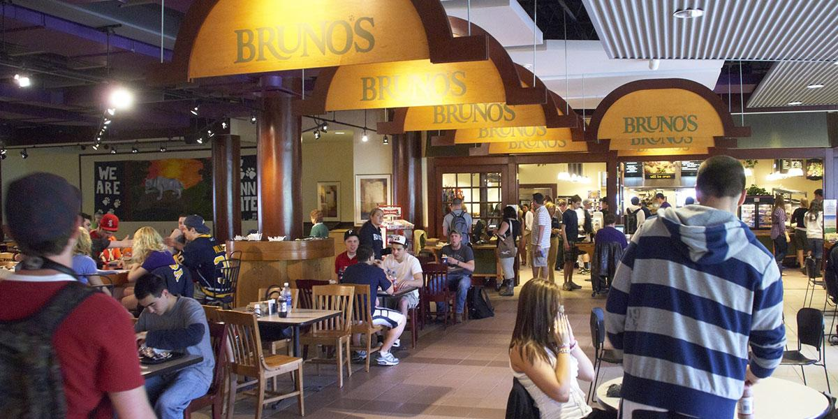 Brunos wide image with students dining