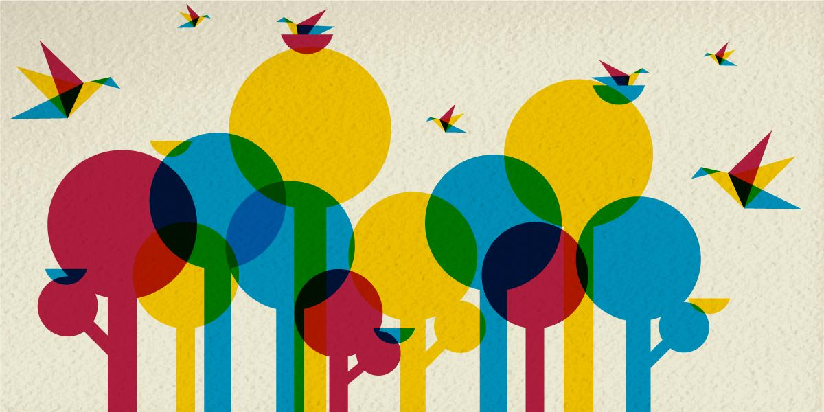 illustration of geometric birds flying around colorful trees finding available nests
